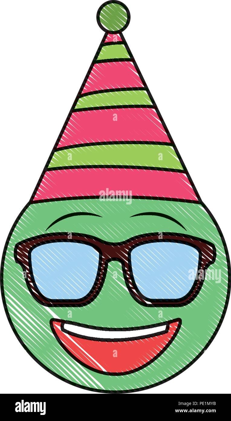 Geburtstag Emoji Mit Sonnenbrille Partei Hat Zeichnung Bild Vektor