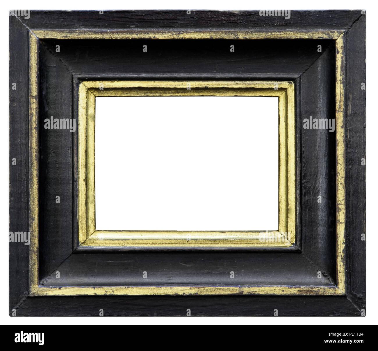 Eleganter und schicker Bilderrahmen in schwarz, mit Goldrand, im Firma Syngenta AG, aus dem Biedermeier Stockbild