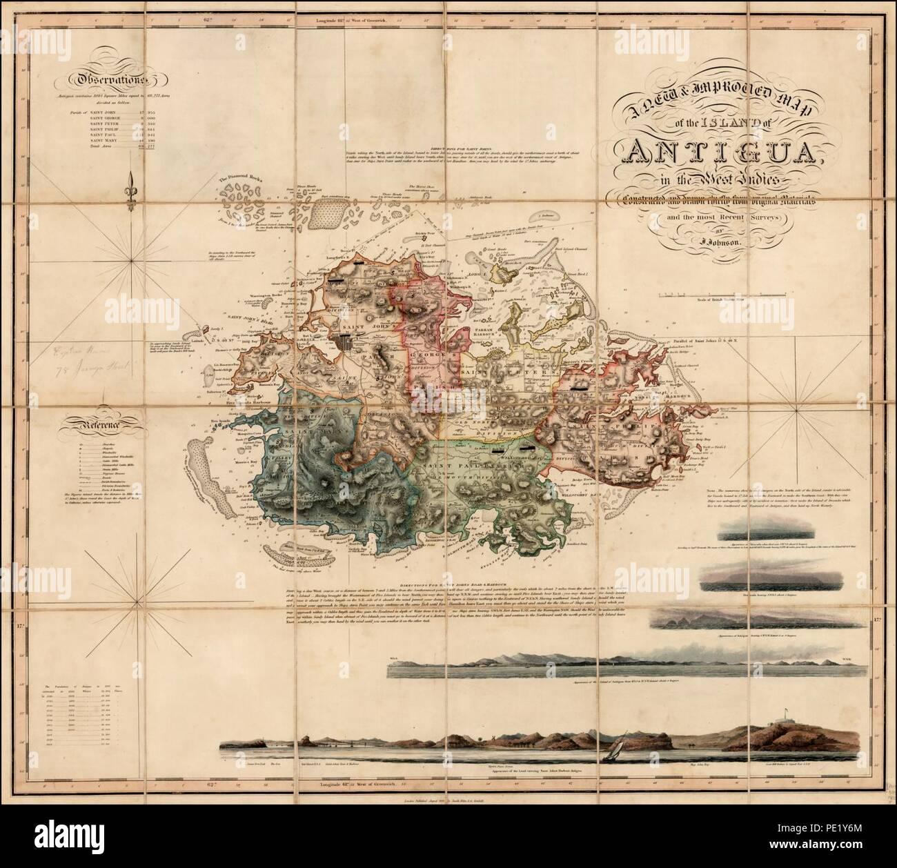 Karte Island Drucken.Antigua Karte Drucken Stockfotos Antigua Karte Drucken