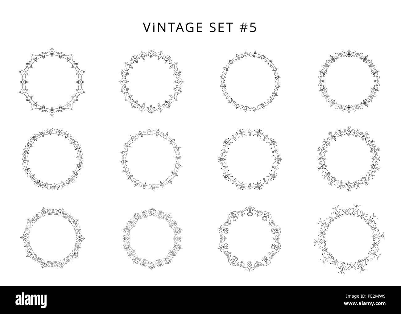 Satz von rund dekorative Rahmen. Sammlung von schwarz Retro ...