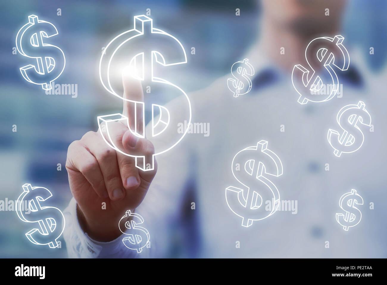E-commerce oder Fundraising Finanzkonzept, Geld verdienen online, Geschäftsmann berühren virtuelle 3D-amerikanischen Dollar Zeichen, digital Finance und profitieren Investoren Stockbild