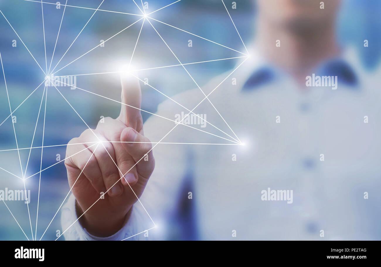 Innovation und Business Intelligence Technologie Hintergrund mit Platz für Text kopieren, abstrakte innovative Lösung mit dem Unternehmensnetzwerk verbinden Stockbild