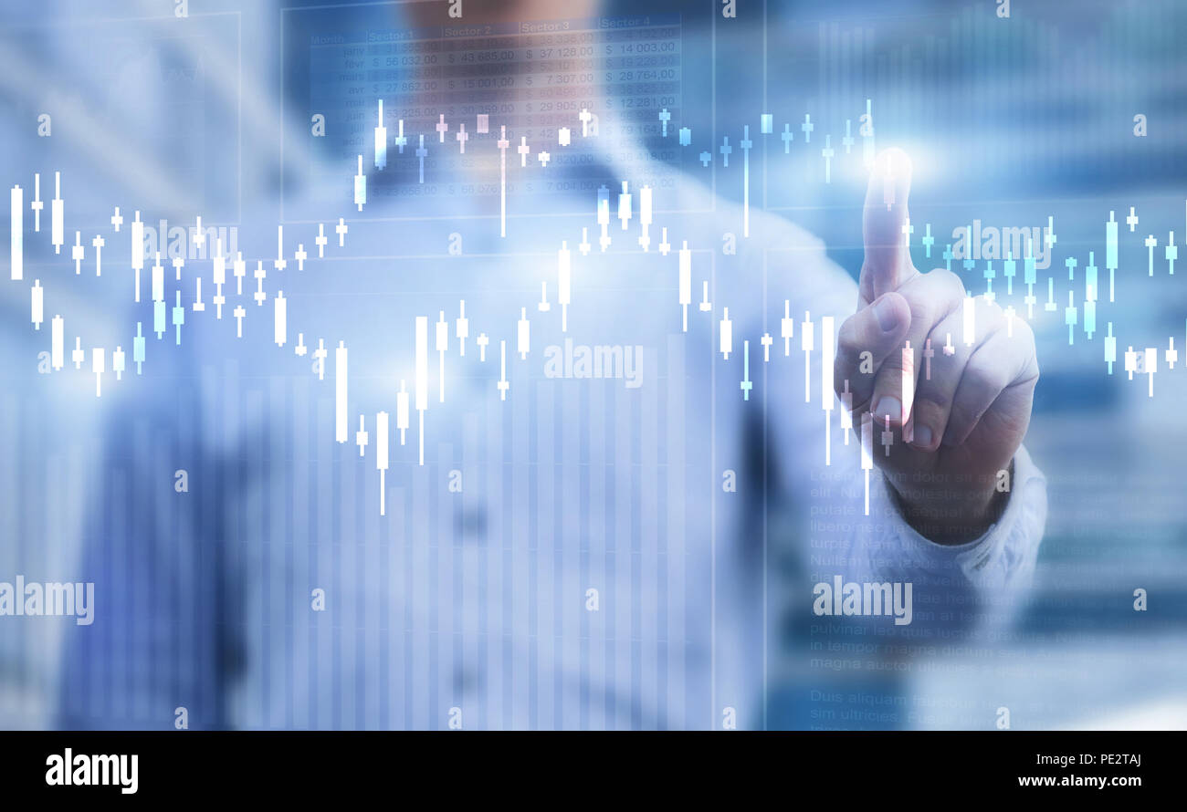 Finanzcharts, Business Analytics Konzept Stockfoto