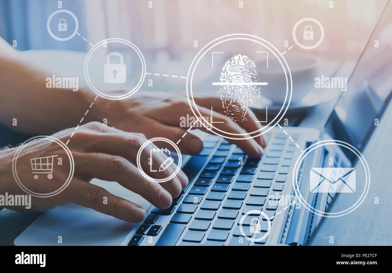 Fingerabdruck Zugriff Berechtigungskonzept, Informations-Sicherheit personenbezogener Daten Stockbild