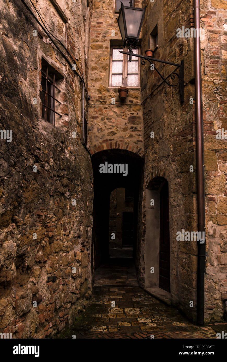 Klassisches Gebäude in Pienza, Toskana, Italien. Stockbild