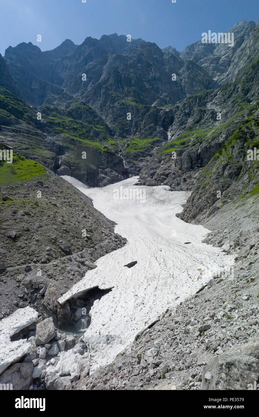 Watzman eiskepelle Eis Feld und Berg. Nationalpark Berchtesgaden Bayern Deutschland Stockbild