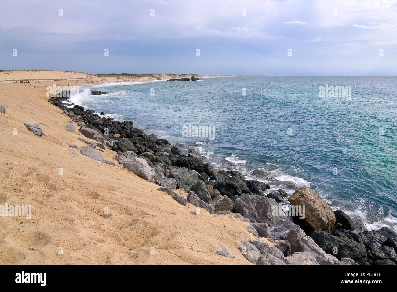 Strand von Capbreton, eine Gemeinde im französischen Département Landes in Nouvelle-Aquitaine im Südwesten von Frankreich. Stockbild