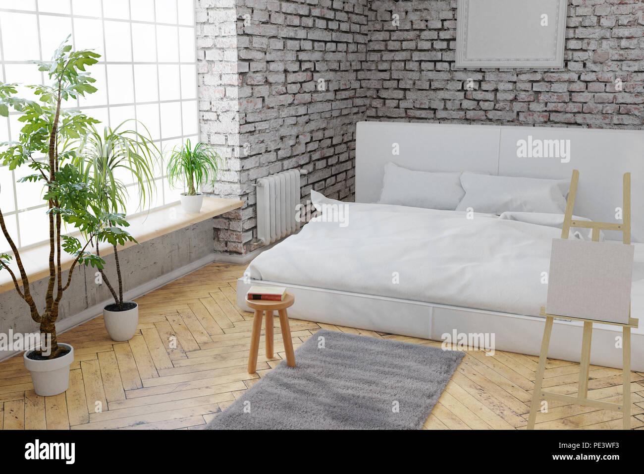 3D Rendering Von Schlafzimmer Mit Weißen Steine Wand  Und Parkettboden