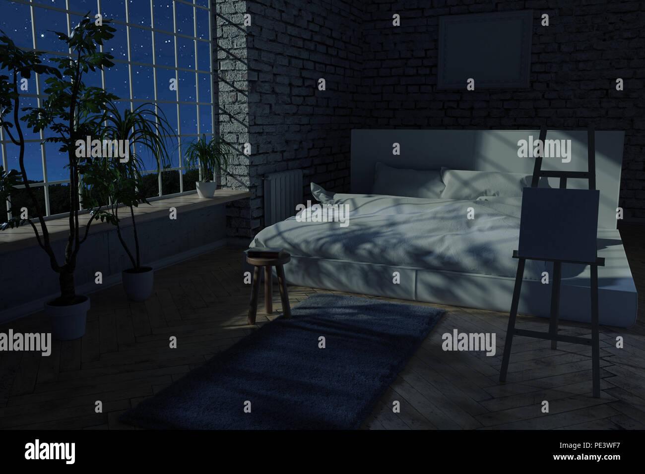 3D Rendering Von Schlafzimmer Mit Weißen Steine Wand  Und Parkettboden In  Der Nacht