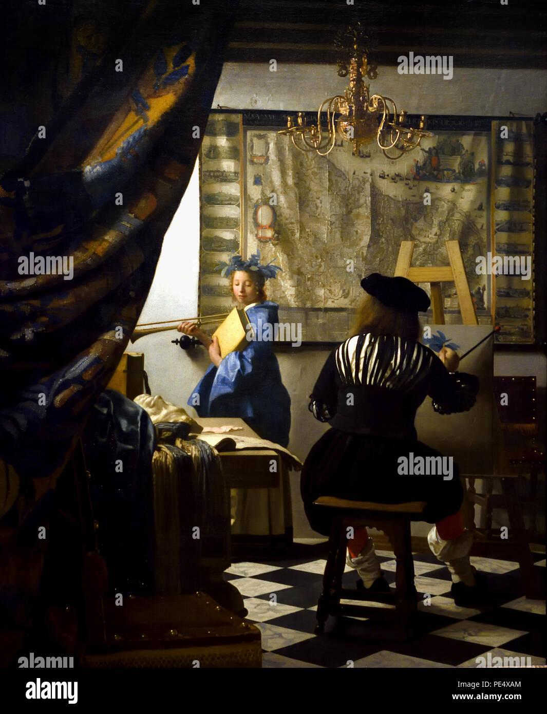 Das Gemälde von Johannes Vermeer 1632 - 1675 Die Niederlande, Niederländisch, (Die malerei Kunst mit der Darstellung der Maler im Studio Vermeer das Genre um eine Allegorie der Malerei übertreibt. Sein Modell posiert als Klio) Stockbild