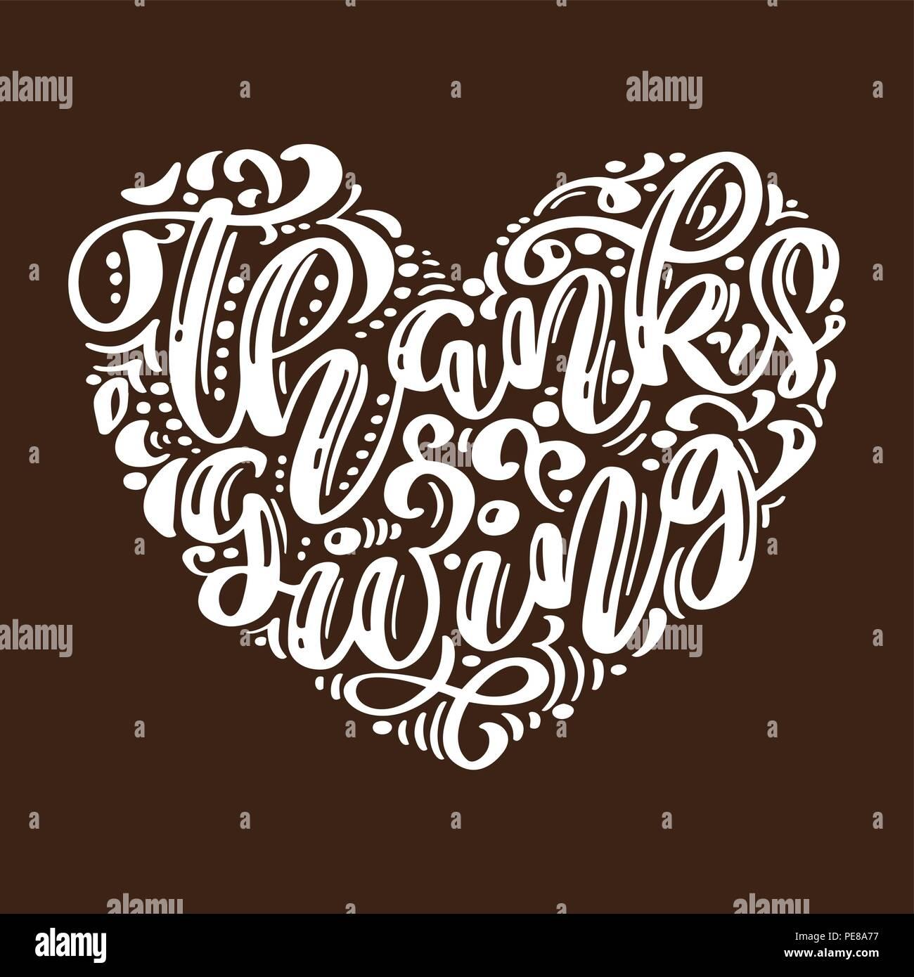 Hand Gezeichnet Happy Thanksgiving Day Typografie Poster Feier