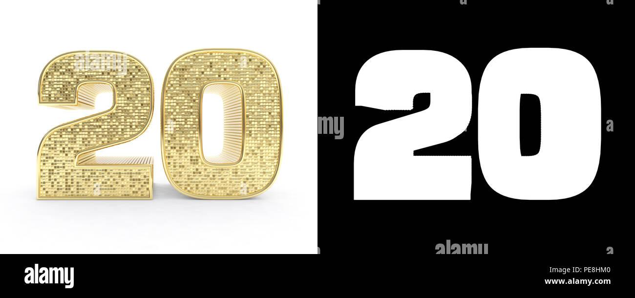 Goldene Zahl 20 Nummer 20 auf weißem Hintergrund mit ...