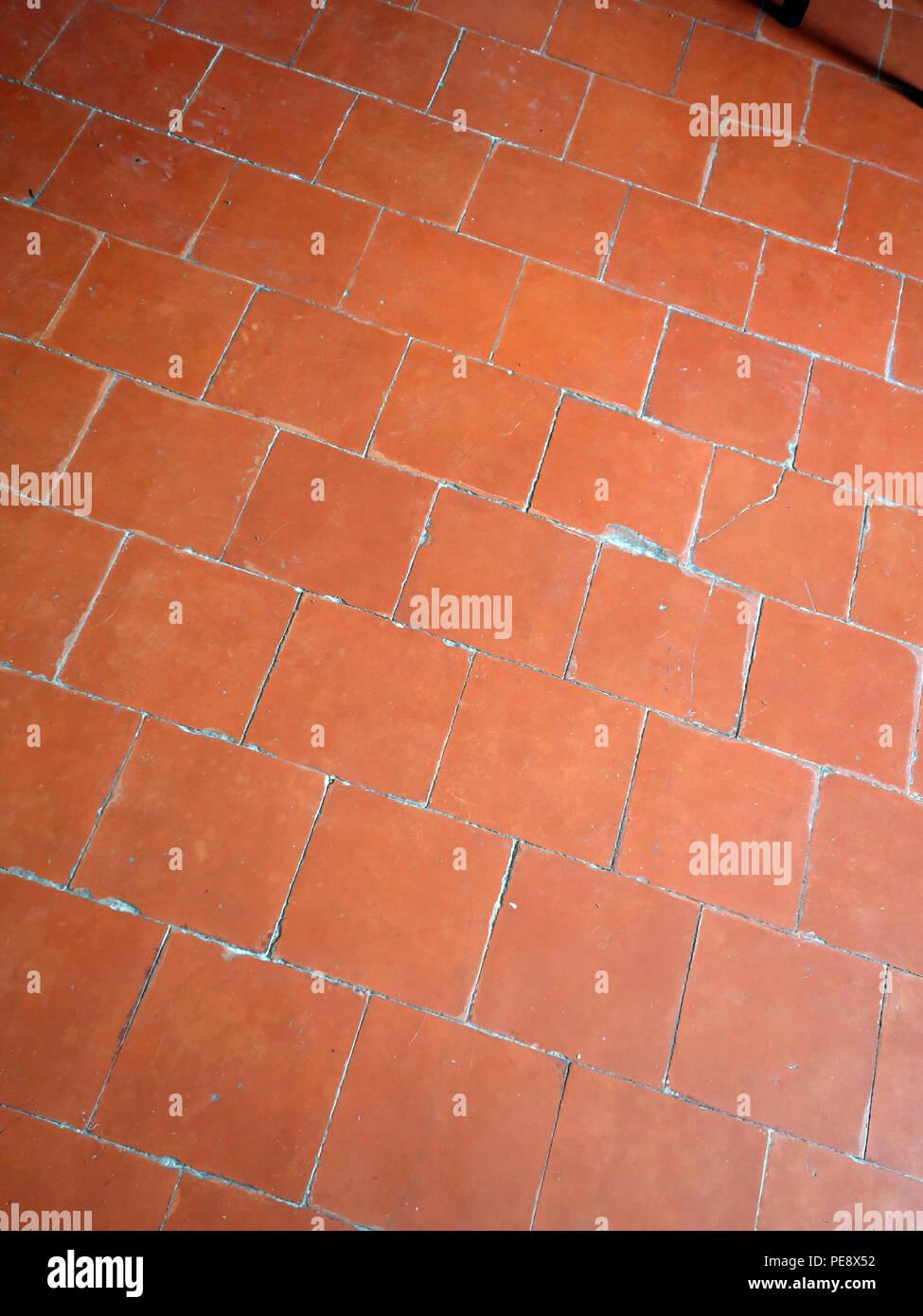 Häufig Rote antike Bodenfliesen in einem großen französischen Haus SS14