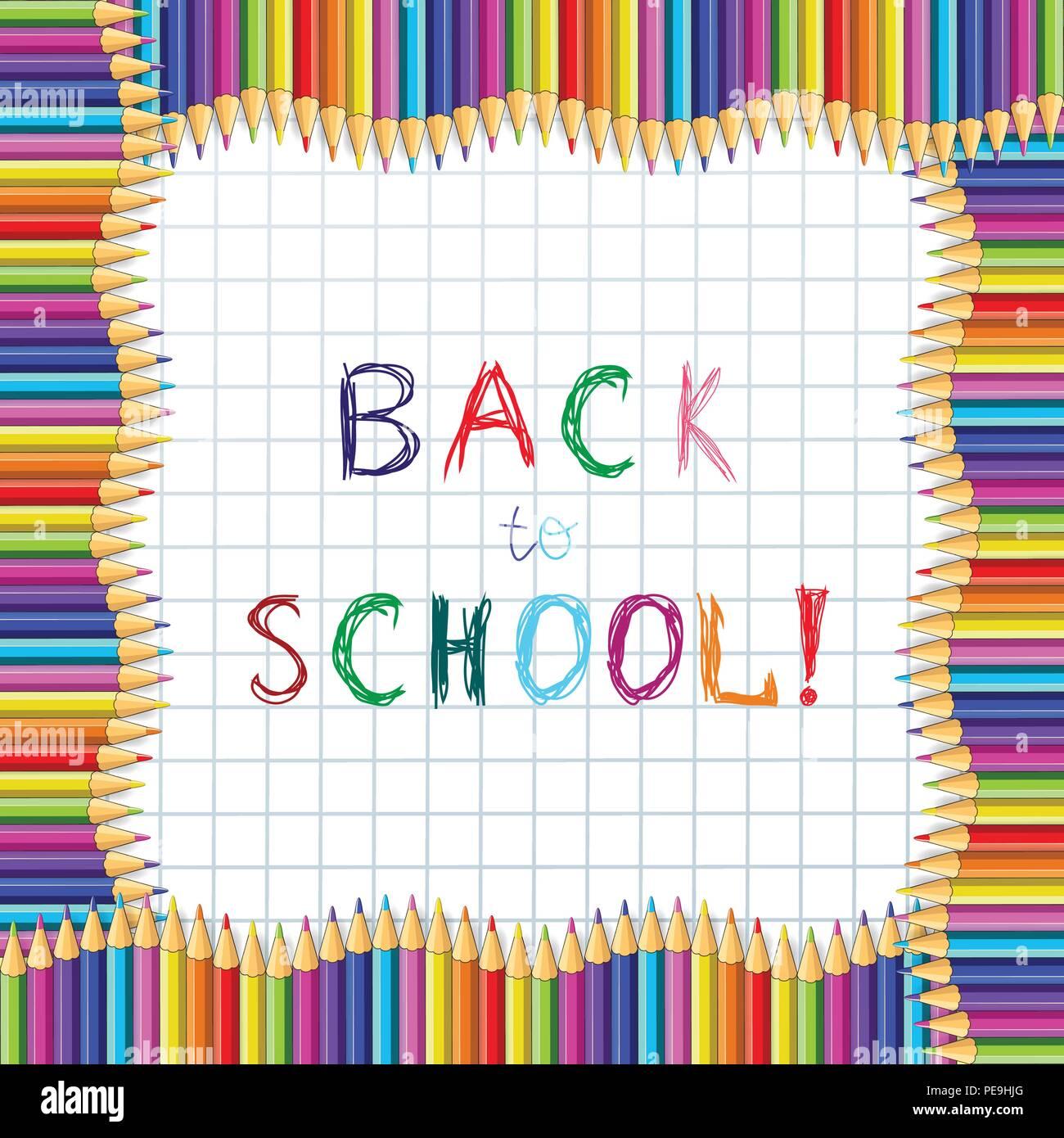 Zurück zu Schule Hand schreiben Sketchy Bunte Bleistifte