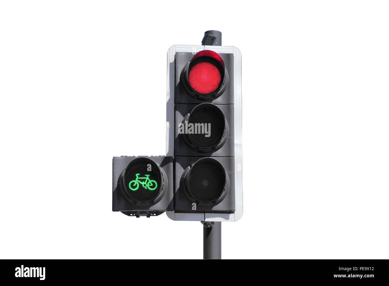 Ein Zyklus Priorität Ampel. Das grüne Licht gibt Radfahrern einen Vorsprung, so dass Sie die Kreuzung vor dem restlichen Verkehr zu überqueren. Stockfoto