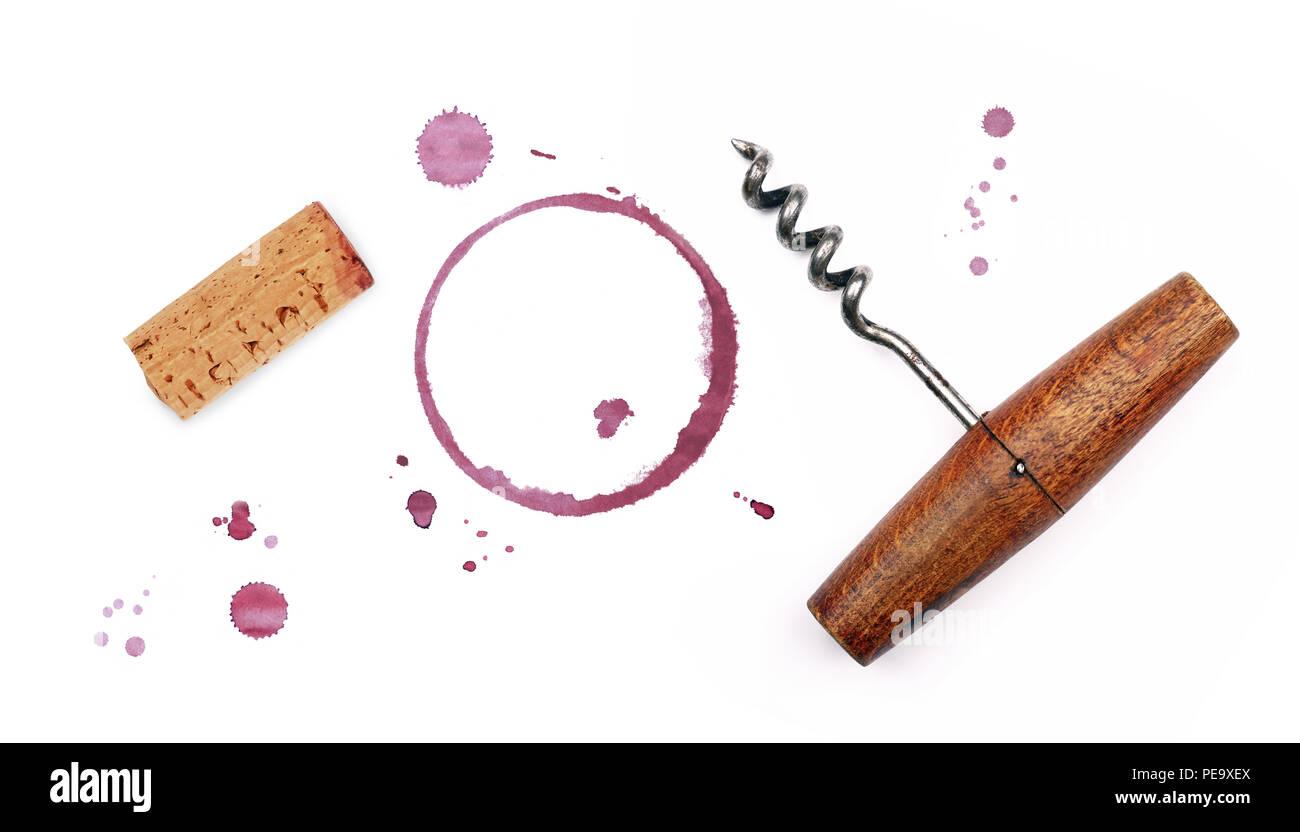 Eine Rote Wein Korken Korkenzieher Flaschenöffner Chemische