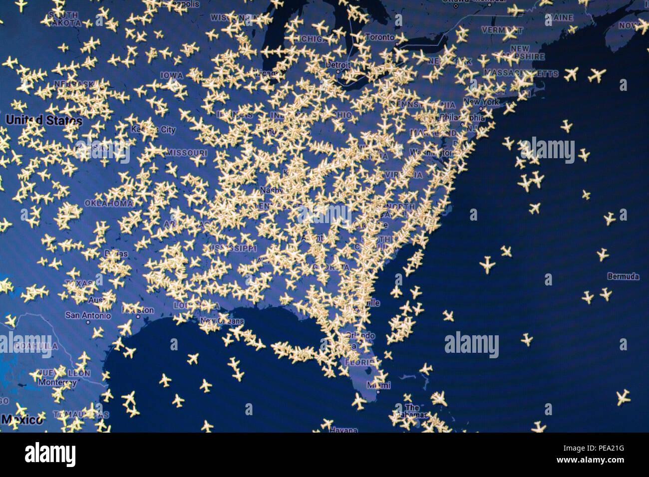 Commercial flight tracking Karte von USA Stockbild