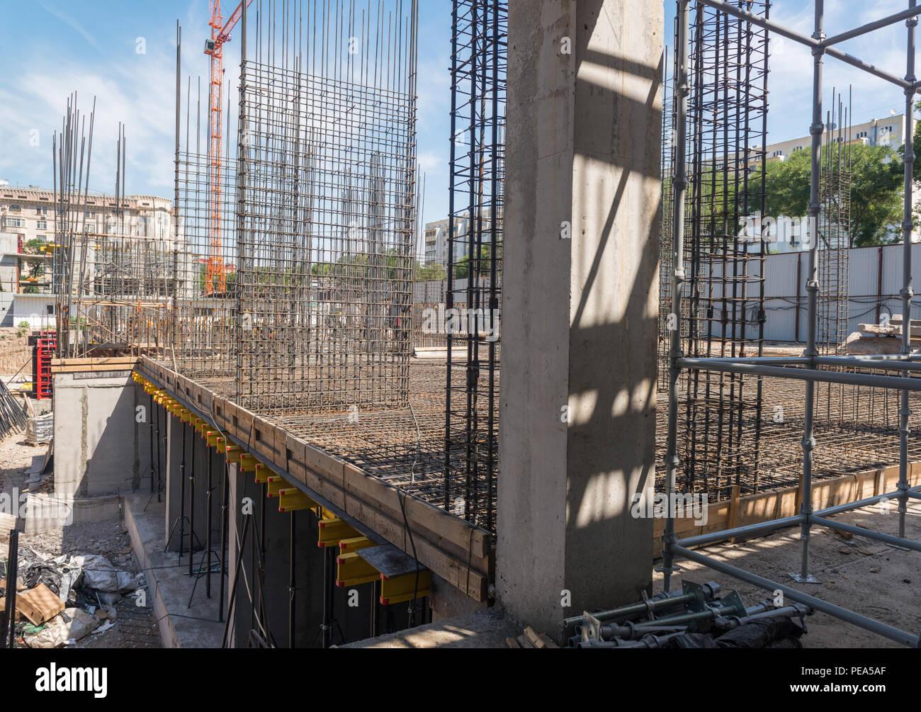 Bau Eines Neuen Gebaudes Beton Und Bewehrung Mit Kran Allgemeine
