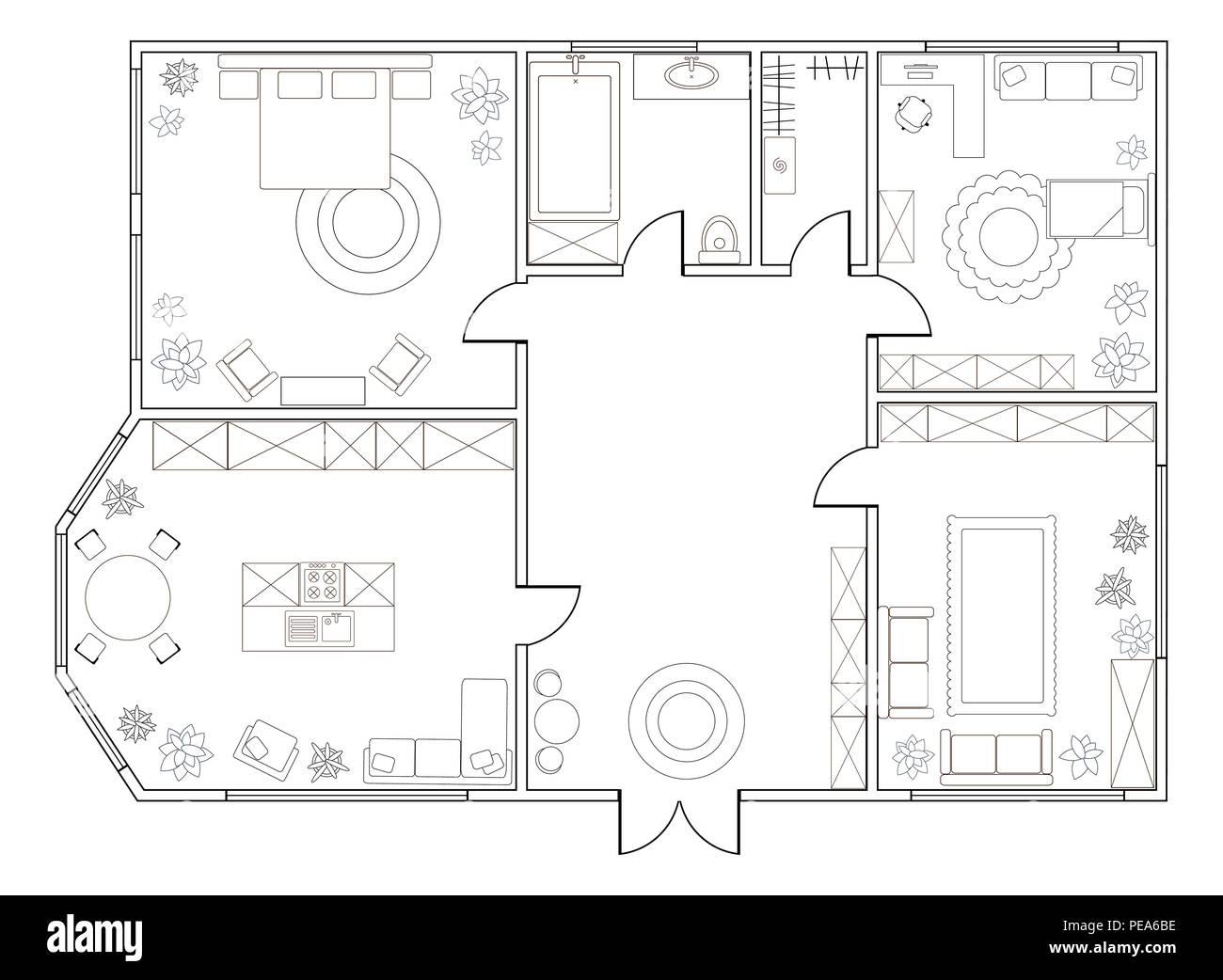 Abstract vector Plan der 2-Schlafzimmer Appartement mit Küche, Bad ...