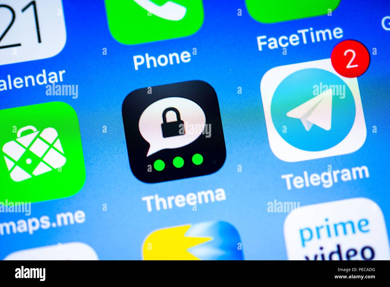 Threema, sichere Instant Messenger App, App, Display, iPhone, iOS, Smartphone, Display, Nahaufnahme, Detail, Deutschland Stockbild