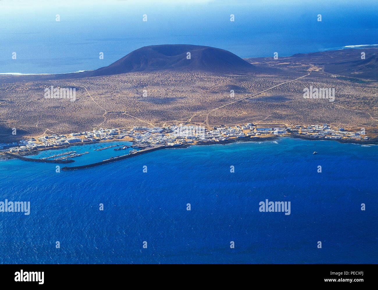 Insel La Graciosa, Blick von El Mirador. Chinijo Inseln, Kanarische Inseln, Spanien. Stockfoto
