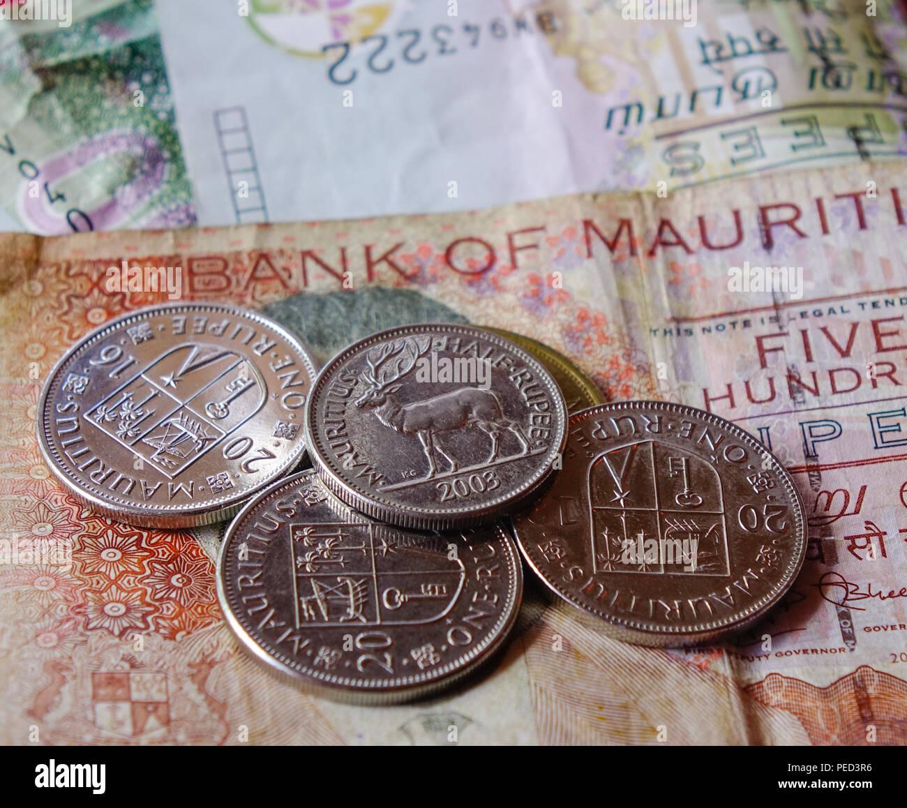 Mauritius Rupee Money Currency Bank Stockfotos Mauritius Rupee