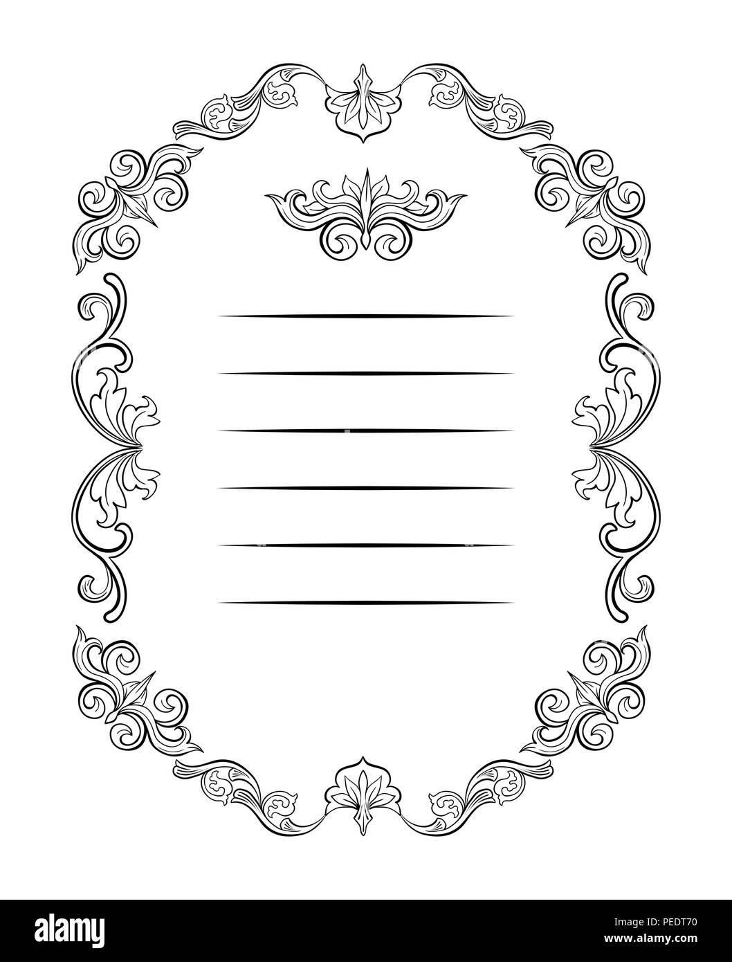 Florale Grenzen und Frames mit Platz für Text. Kopieren Sie Raum und ...