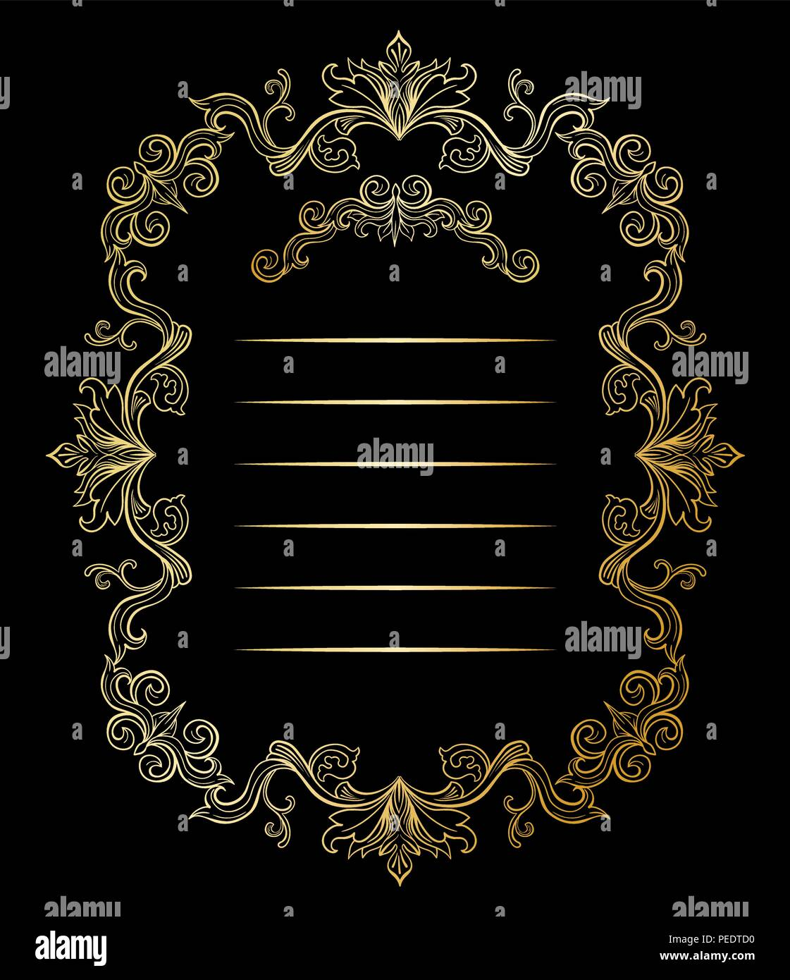 Golden florale und Frames mit Platz für Text. Kopieren Sie Raum und ...