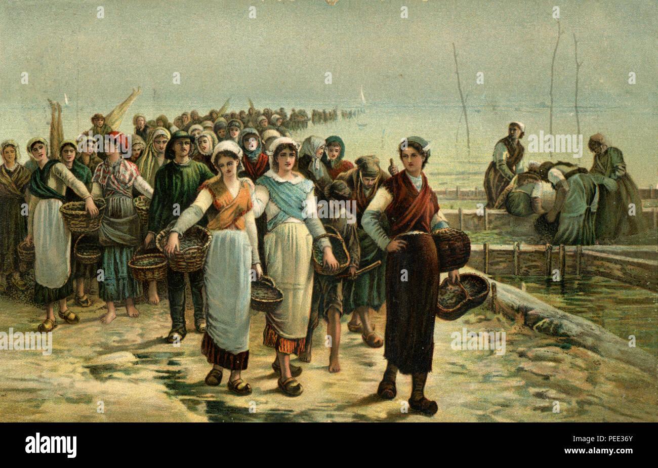 Rückkehr der Austernfischer (Retour de la Peche aux Huitres), Farbe Lithografie nach dem Gemälde von Auguste Feyen-Perrin, 1908, Auguste Feyen-Perrin Stockbild