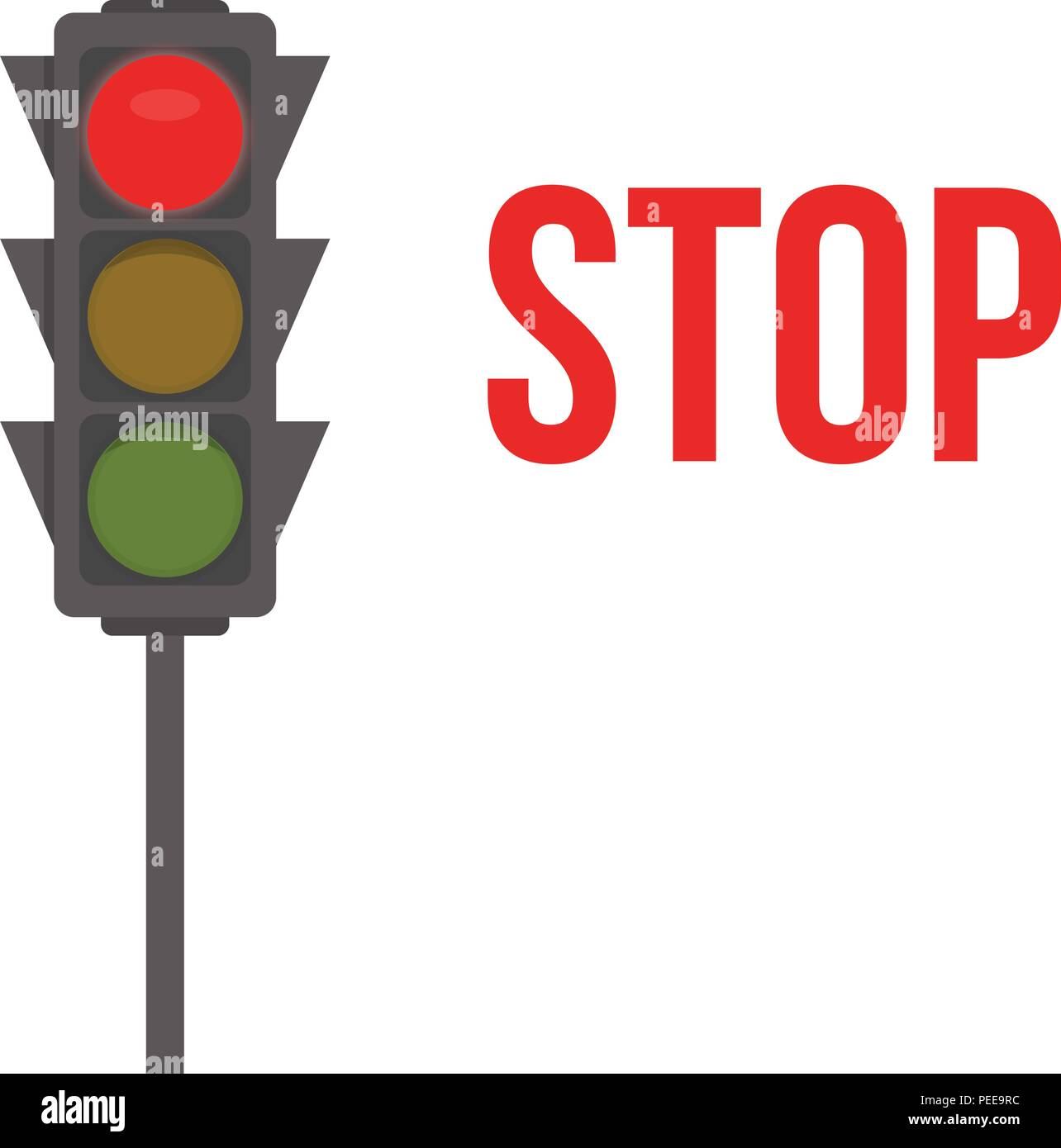 Ampel Isolierte Symbol Rote Lichter Stop Signal Der Ampel Vector