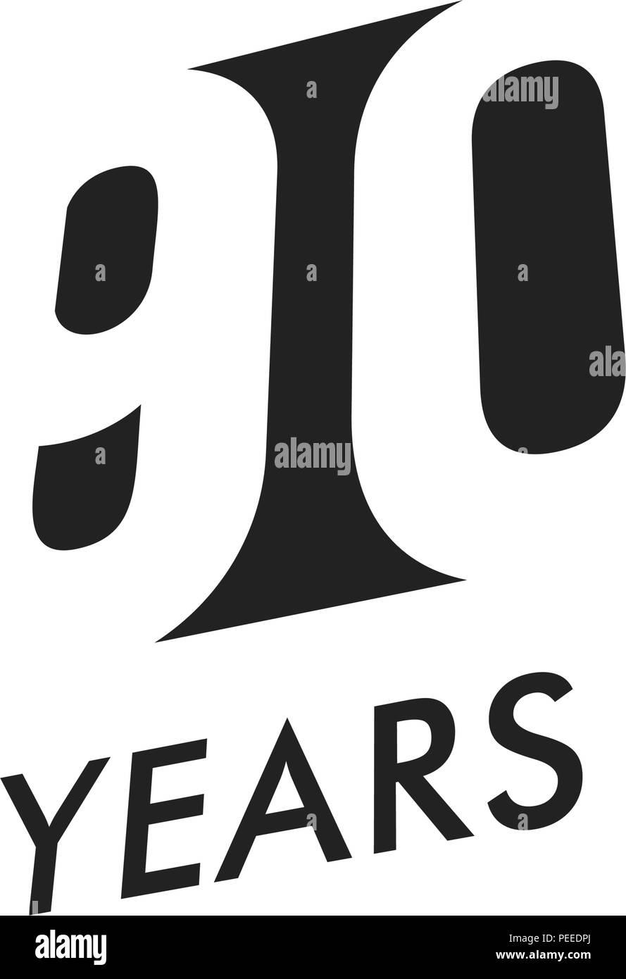 90 Jahre vector Emblem Vorlage. Jahrestag Symbol, negative Space Design. Jubiläum schwarze Farbe Symbol. Happy 90th birthday, abstrakte Darstellung. Stockbild