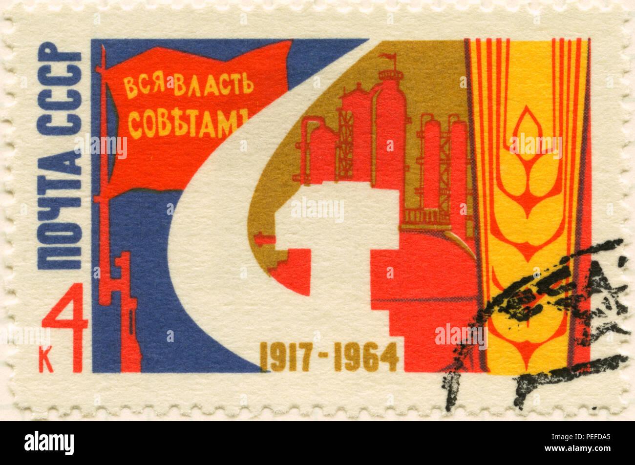 Sowjetische Jubiläumsmarke für die Oktoberrevolution von 1917, 1964 Stockbild