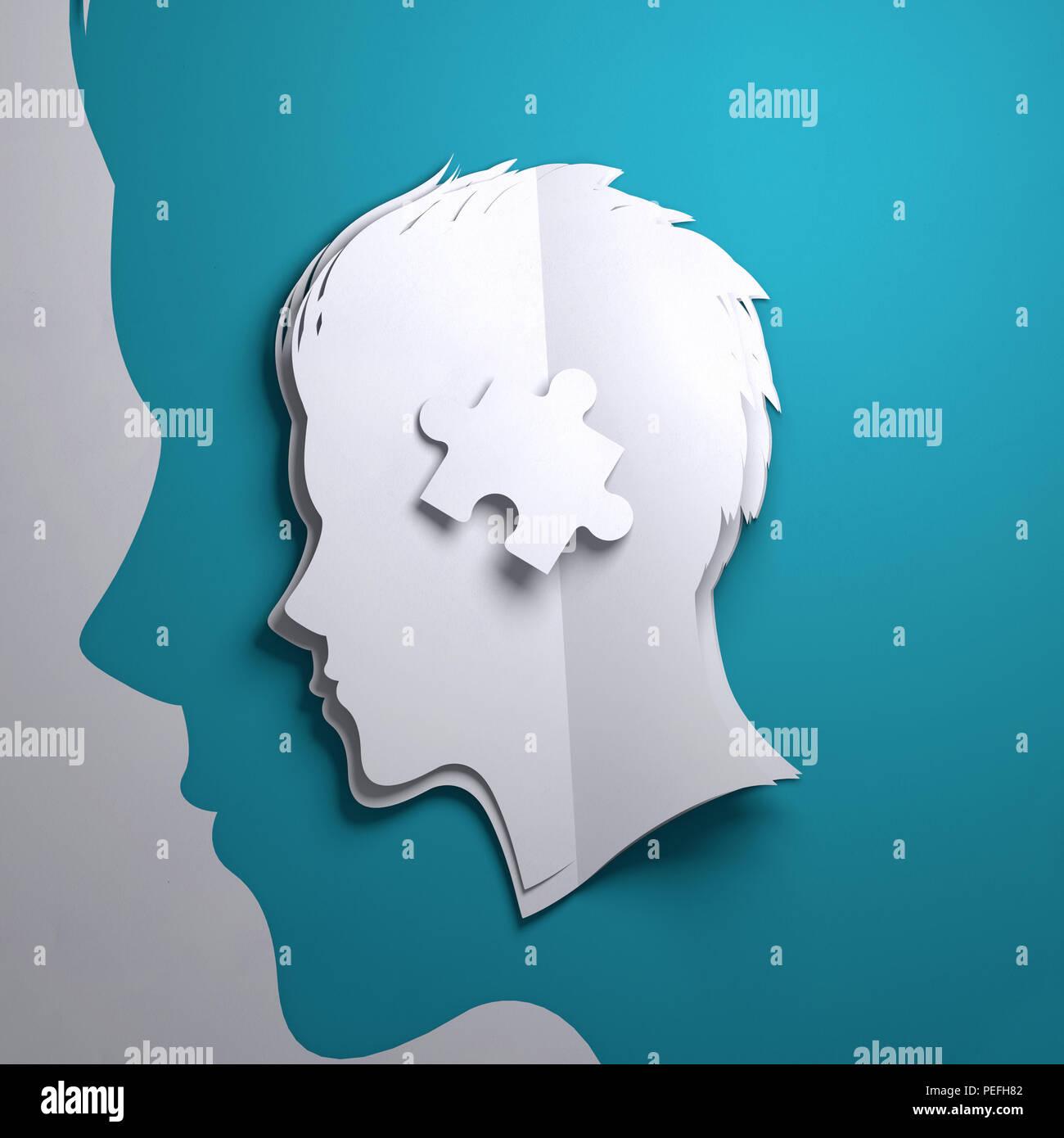 Gefaltetes Papier kunst Origami. Die Silhouette eines Personen Kopf mit einem Puzzleteil. Konzeptionelle Vergegenwärtigung 3D-Abbildung. Stockbild