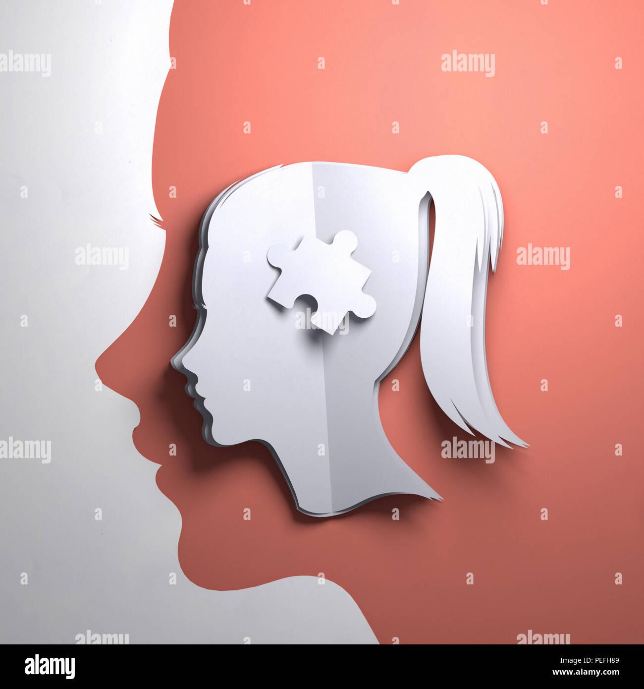Gefaltetes Papier kunst Origami. Die Silhouette eines Frauen Kopf mit einem Puzzleteil. Konzeptionelle Vergegenwärtigung 3D-Abbildung. Stockbild