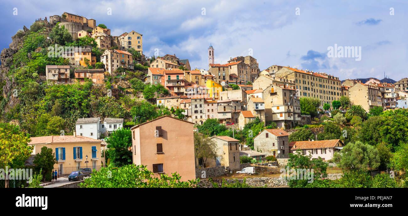 Beeindruckende Corte Dorf, Panoramaaussicht, Korsika, Frankreich. Stockbild