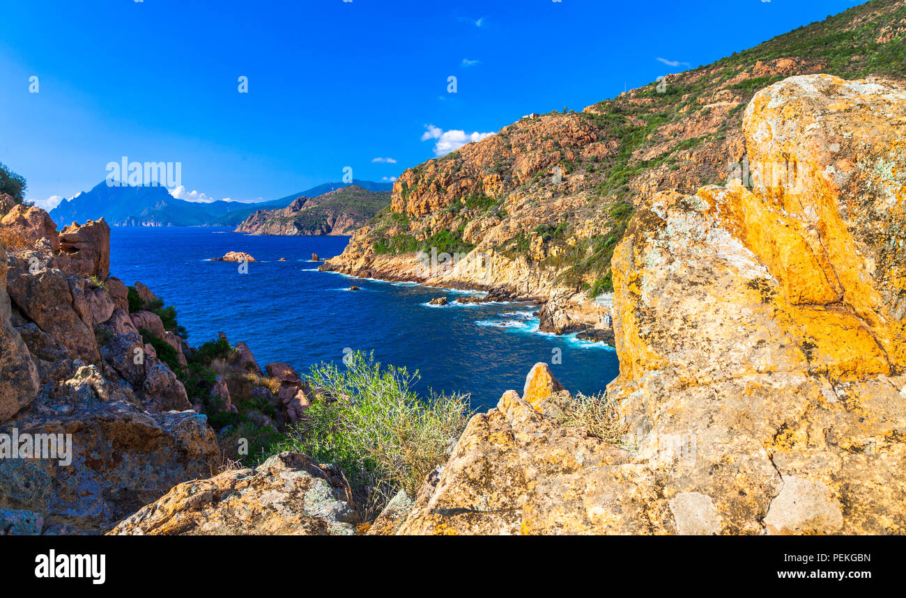 Beeindruckende Landschaft Korsikas, Panoramaaussicht, Frankreich. Stockbild