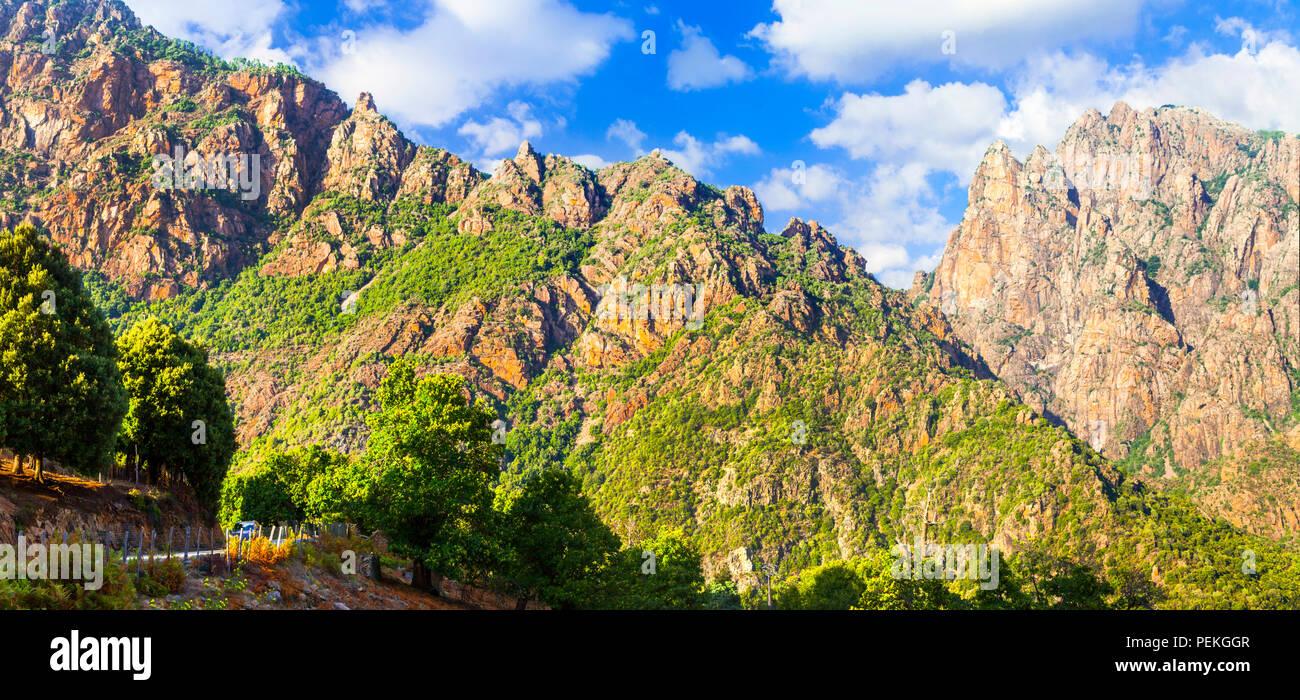 Beeindruckende Berge in Korsika, Frankreich. Stockbild
