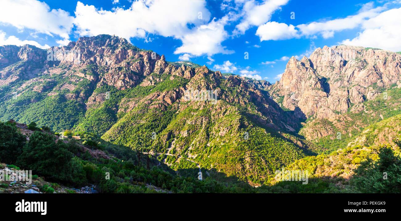 Beeindruckende Berge in Corse, Panoramaaussicht, Frankreich. Stockbild