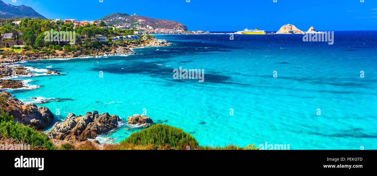 Schönen Strand der Insel Korsika, Strand Santa Giulia, Frankreich. Stockbild