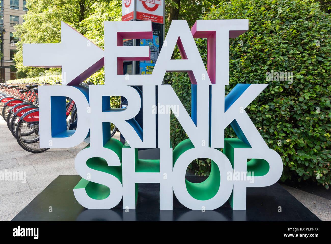Essen, Trinken, Shop anmelden Jubilee Park, Canary Wharf, London Borough Tower Hamlets, London, Greater London, England, Vereinigtes Königreich Stockbild