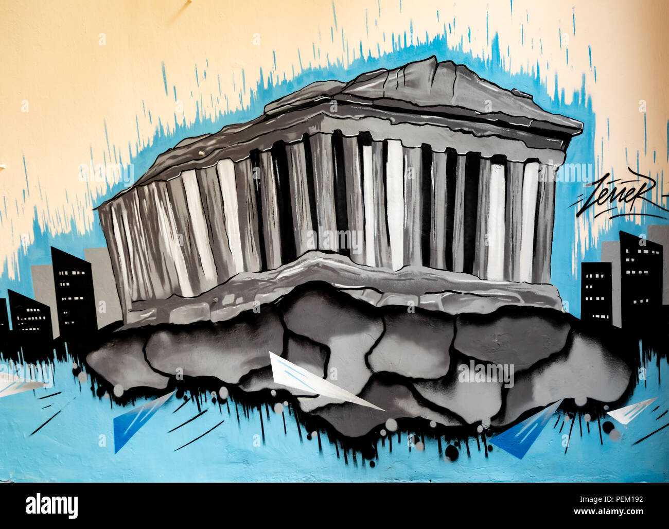 Der Parthenon Graffiti, Zene R, Street Art. Stockbild