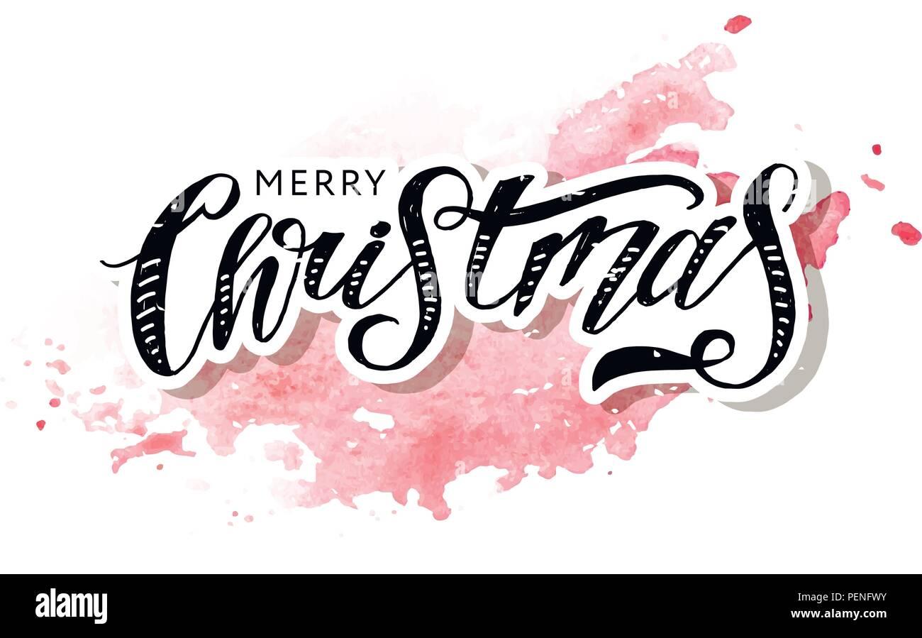 Weihnachten schrift Kalligraphie Pinsel Text Urlaub Vektor Aufkleber ...