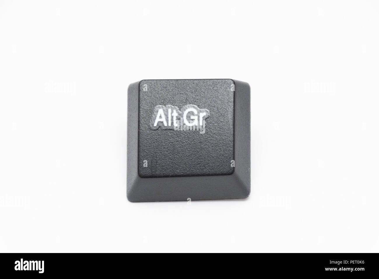 Einzelnen schwarzen Tasten der Tastatur mit verschiedenen Buchstaben Stockbild