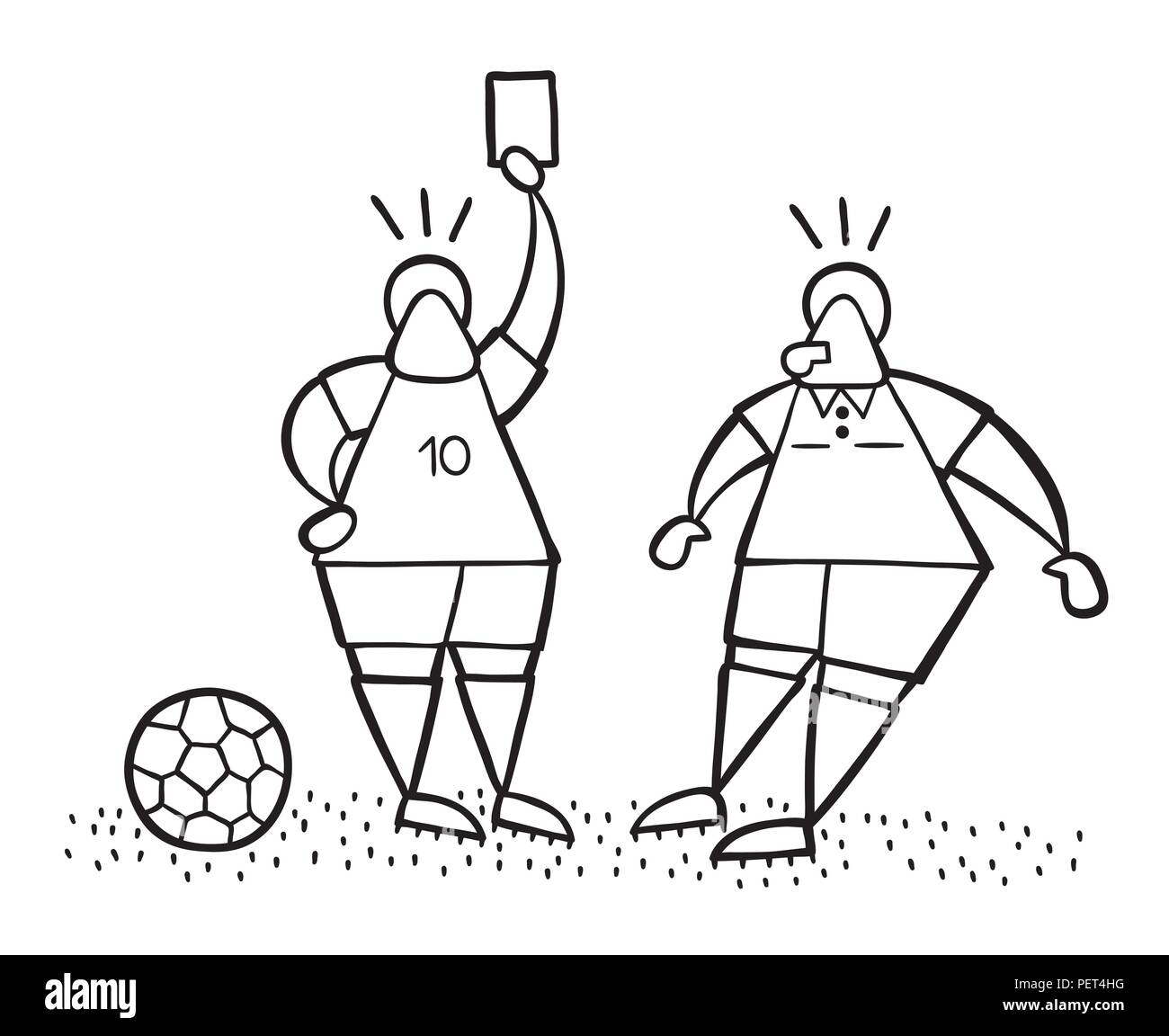 Vector Illustration Comic Fussball Spieler Mann Zeigen Rote