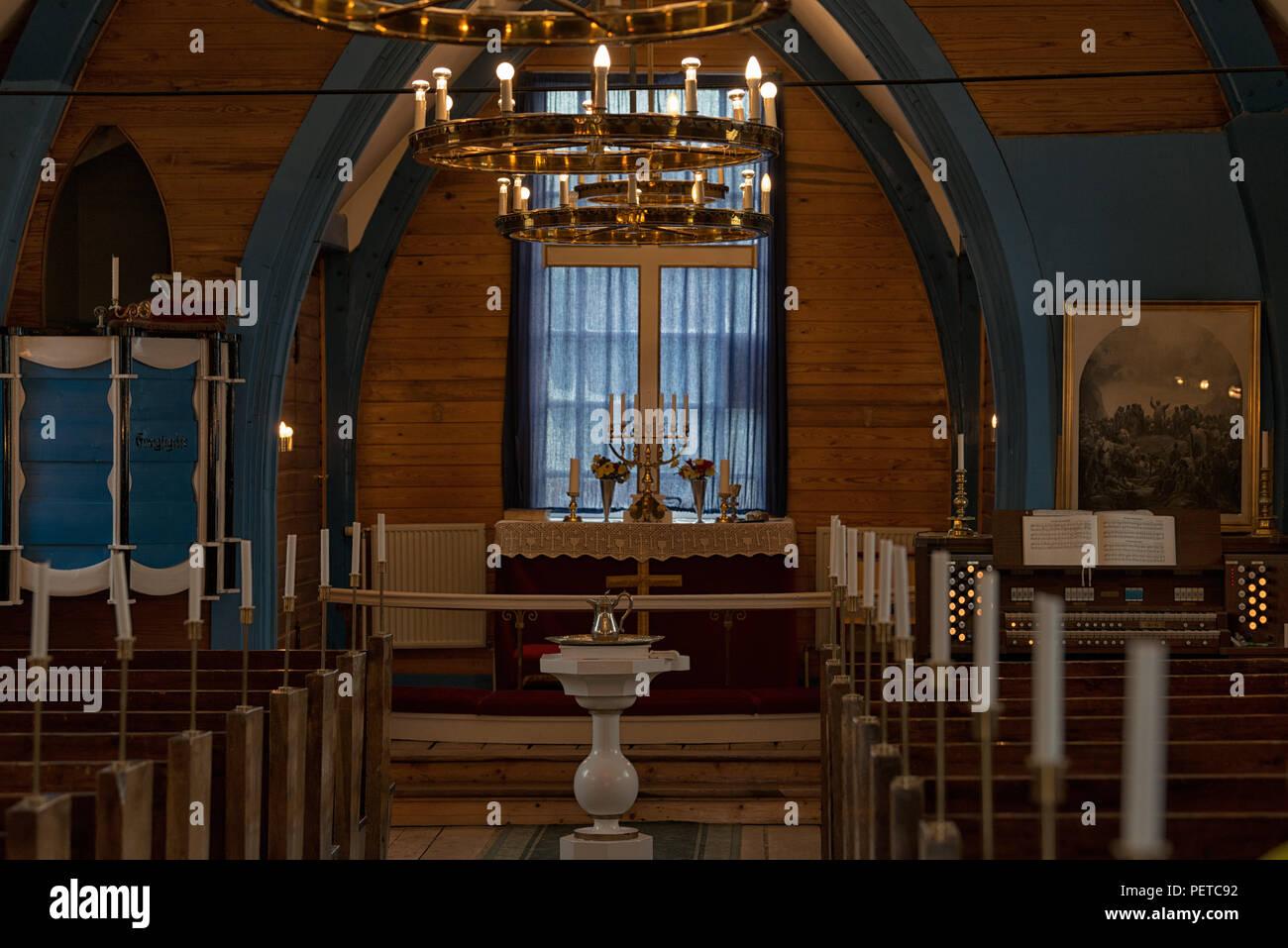 Im Inneren der Kirche von Ittoqqortoormiit, Grönland, 2017 Stockbild