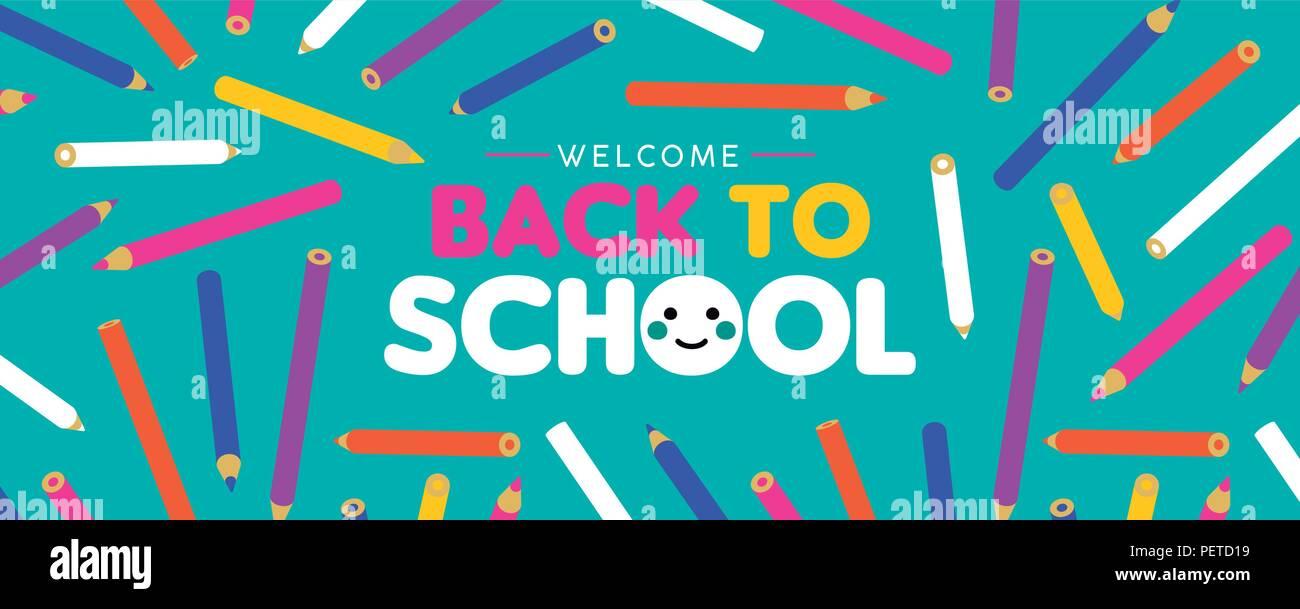 Zurück Zu Schule Web Banner Willkommen Farbenfrohe Kunst