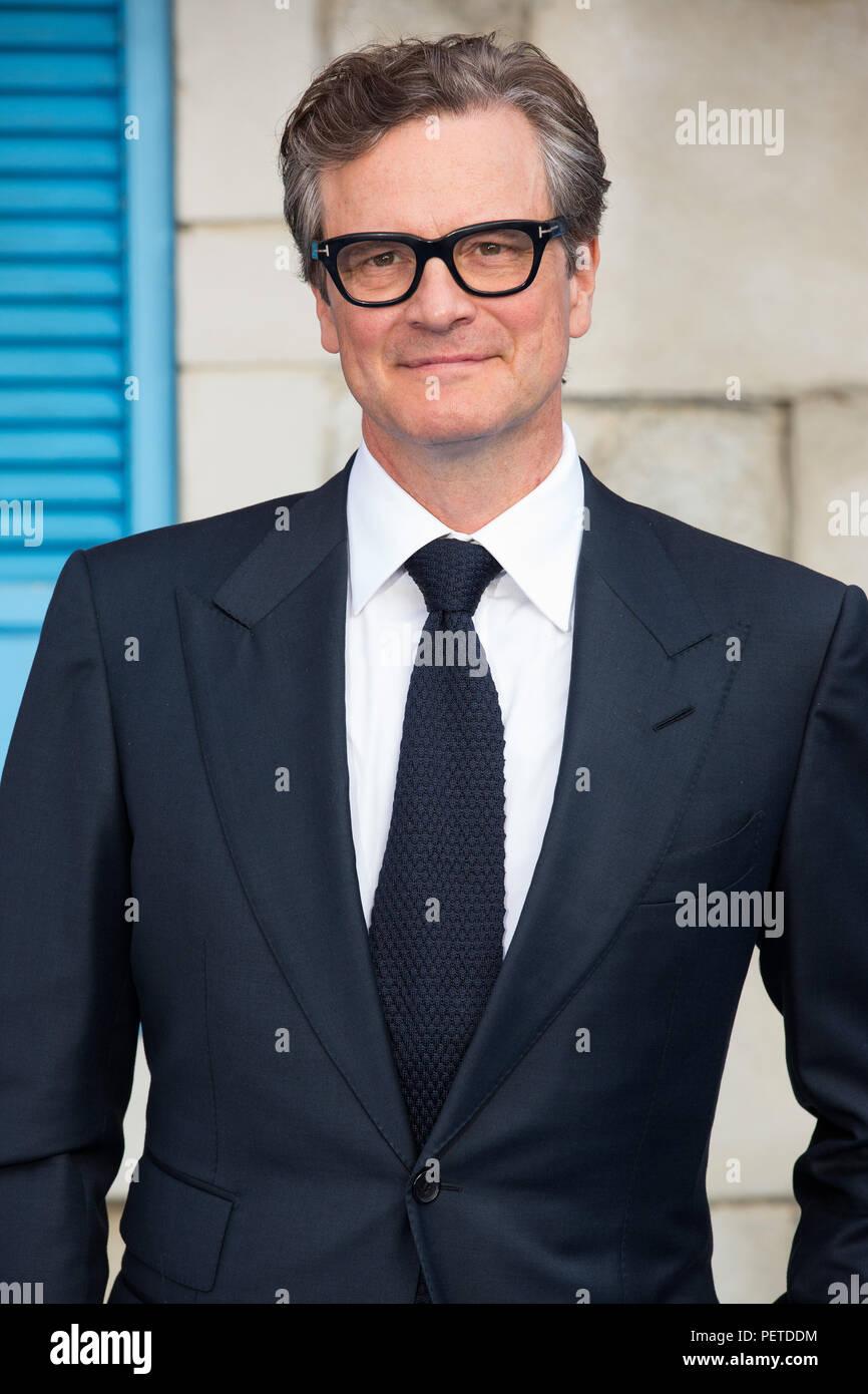 Red Carpet Anreise für die Weltpremiere von Mamma Mia, hier gehen wir wieder mit: Colin Firth, Wo: London, Großbritannien Wann: 16 Jun 2018 Credit: Phil Lewis/WENN.com Stockbild