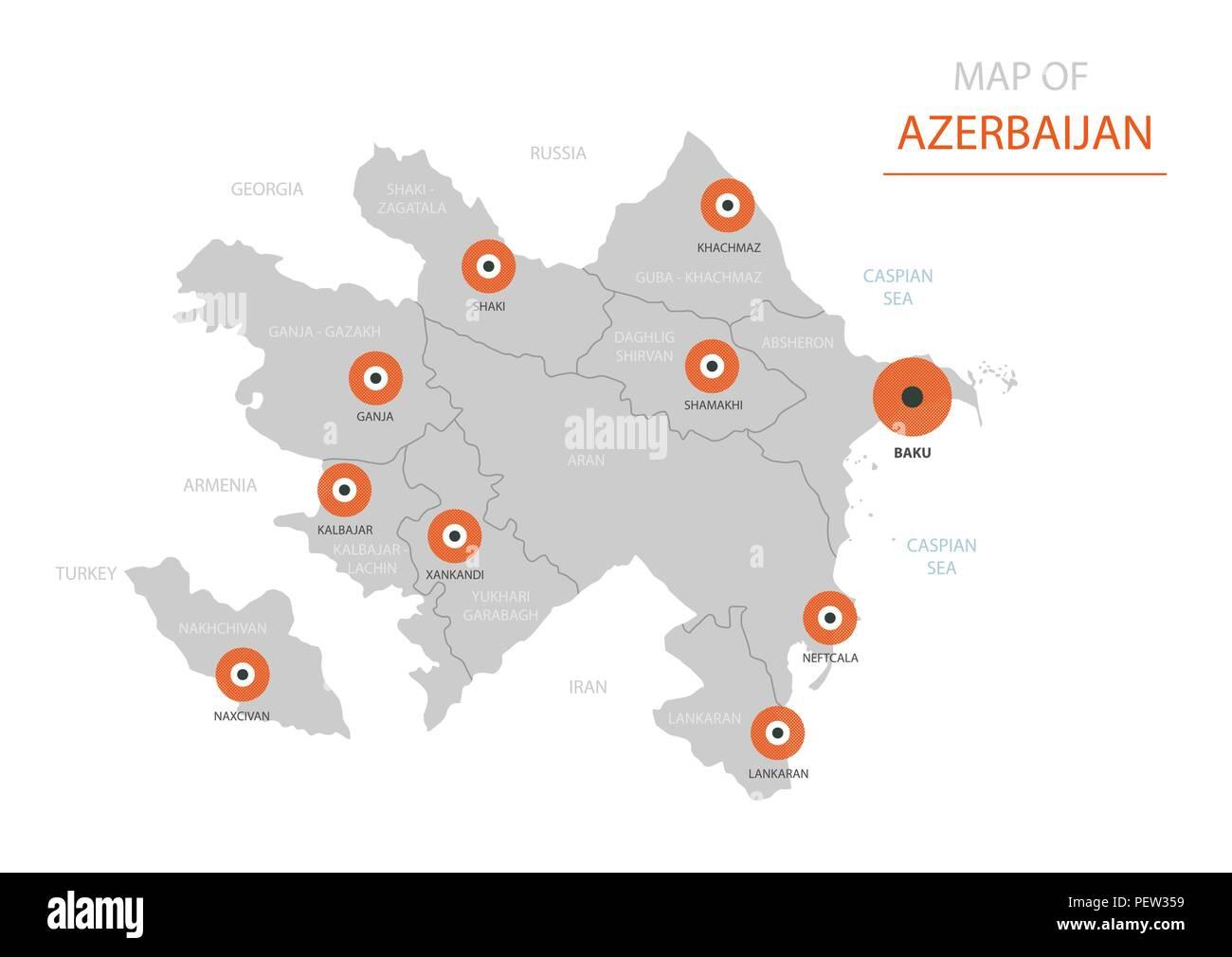 Baku Aserbaidschan Karte.Stylized Vector Aserbaidschan Karte Der Grossen Stadte Die