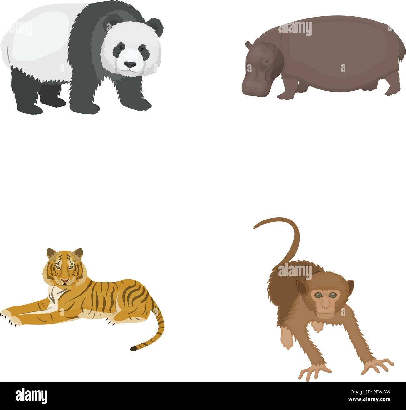 Bambus Nilpferd Wildes Tier Tiger Affe Wildes Tier Set Sammlung