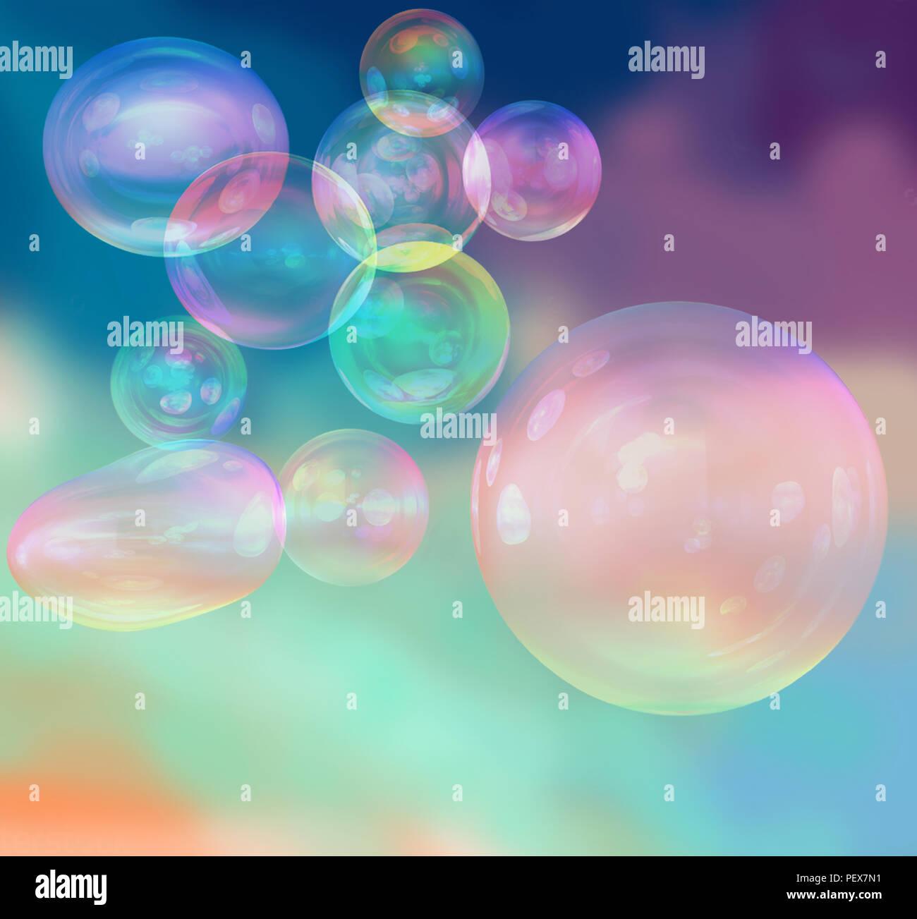Schöne schillernde Seifenblasen auf farbigen Hintergrund, 3D-Rendering Stockfoto